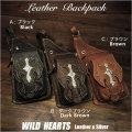 ボディバッグ ワンショルダー バックパック リュック 3色 レザー/本革  Leather Backpack Shoulder Sling Travel Bag shoulder purse Unisex WILD HEARTS Leather&Silver (ID bb3794t26)