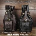 送料無料 メンズ バックパック 巾着タイプ ボディバッグ ジムバッグ リュック ブラック Crocodile Embossed Leather Travel Backpack Rucksack Shoulder Bag Gym Bag School Bag Black DarkBrown WILD HEARTS Leather&Silver (ID bb3509b42)