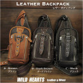 斜めがけバック ボディバッグ ワンショルダーパック リュック 3色 レザー/本革  Leather Backpack Shoulder Sling Travel Bag shoulder purse Unisex<br>WILD HEARTS Leather&Silver (ID bb3917b34)