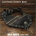 ワンショルダーバッグ ウエストバッグ チェストバッグ スリムバッグ Genuine Leather Chest Bag Shoulder Sling Bag WILD HEARTS Leather&Silver(ID bb1339b30)