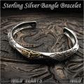 バングル ブレスレット シルバー925 フリーサイズ  メンズ Sterling Silver 925 Fashion Women Men's Twisted  Bangle Bracelet Cuff WILD HEARTS (ID sb3675r79)