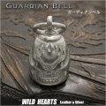 ガーディアンベル バイカーベル 合金 キーホルダー スカル ペンダント Guardian Bell Harley Accessory Motorcycle Ride Bell Skull Metal Pendant WILD HEARTS Leather&Silver(ID kh4029k5)