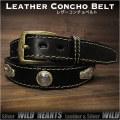 コンチョベルト ウエスタンベルト  レザーベルト 牛革/レザー サドルレザー バックル付き ブラック/黒 Genuine Leather Concho Belt Biker Belt Pin Buckle Black WILD HEARTS Leather&Silver (ID lb3767t40)