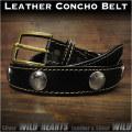 コンチョベルト ウエスタンベルト  レザーベルト 牛革/レザー サドルレザー バックル付き ブラック/黒  Genuine Leather Concho Belt Biker Belt Pin Buckle Black WILD HEARTS Leather&Silver (ID lb3768t40)