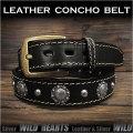 コンチョベルト ウエスタンベルト  レザーベルト 牛革/レザー サドルレザー バックル付き ブラック/黒  Genuine Leather Concho Belt Biker Belt Pin Buckle Black WILD HEARTS Leather&Silver (ID lb3771t40)