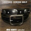 コンチョベルト ウエスタンベルト  レザーベルト 牛革/レザー サドルレザー バックル付き ブラック/黒 Genuine Leather Concho Belt Biker Belt Pin Buckle Black WILD HEARTS Leather&Silver (ID lb3911t40)