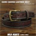 メンズ カービング レザーベルト  ベルト 本革 サドルレザー ハンドメイド ダークブラウン ユニセックス Men's Unisex Genuine Cowhide Hand Carved Leather Western Cowboy Belt  DarkBrown WILD HEARTS Leather&Silver (ID lb3800t42)