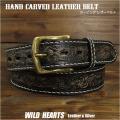 メンズ カービング レザーベルト  ベルト 本革 サドルレザー ハンドメイド ブラック ユニセックス Men's Unisex Genuine Cowhide Hand Carved Leather Western Cowboy Belt  Black WILD HEARTS Leather&Silver (ID lb3801t42)