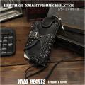 レザー 牛革 スマホケース iphone 6/7/8/X/11Pro/SE2 ケース ホルダー アイフォンケース Custom Genuine Leather Smartphone/iphone Holster Case Cover WILD HEARTS Leather&Silver (ID cc1852t22)