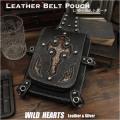 ウエストポーチ ベルト/ヒップポーチ バイカーポーチ 本革/レザー パイソン Men's Biker Fanny Pack Belt Pouch Harley Style Bag WILD HEARTS Leather&Silver (ID wp0837b18)