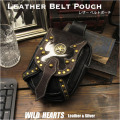 レザー ウエストポーチ ヒップバッグ メディスンバッグ ハラコ/牛毛皮/牛革 Genuine Cowhide Skin Leather Waist Pouch/Hip Bag/Pouch Belt/Medicine Bag WILD HEARTS leather&silver(ID wp0842b24)