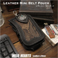 ミニ ベルトポーチ たばこ&スマホケース  iPhone  ホルダー レザー 牛革 パイソン柄 コンチョ Leather Smartphone iPhone cigarette Holster Case Python WILD HEARTS Leather&Silver(ID cc2416r38)