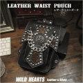 ウエストポーチ ヒップ/ベルト ポーチ シザーバッグ レザー/本革/牛革 ヒップバッグ Genuine Leather Biker Motorcycle Waist Belt Pouch Belt Loops Purse Hip Fanny pack Medicine Bag (ID wp0838b18)