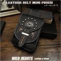 レザー スマホ/アイフォン 8/タバコ/アイコス(IQOS)ケース 牛革 ミニウエスト/ベルトポーチ Genuine Leather iPhone 6,7,8 Case Mini Waist Pouch WILD HEARTS Leather&Silver(ID sc1944r51)