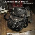 ウエストポーチ ウエストバッグ レッグポーチ ショルダーバッグ 牛革/レザー  Men's Genuine Leather Waist Pouch Belt Leg Bag/Pouch WILD HEARTS leather&silver (ID wp0841b23)