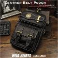メンズ レザー 本革 ベルトポーチ ウエストポーチ ヒップポーチ ブラック/黒 Genuine Leather Waist Pouch Hip Bag/Belt Pouch Belt Biker Style WILD HEARTS Leather&Silver (ID wp0926r38)