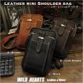本革 レザー ショルダーポーチ ウエストポーチ 旅行用ポーチ ショルダーミニポーチ Genuine Leather Travel Belt Pouch&Shoulder Pouch 3 colors WILD HEARTS Leather&Silver(ID wp254k9)