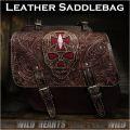 バイク サドルバッグ 本革 カービング ハーレー ブラウン スティングレイ スカル/ドクロ Skull Carved Leather Single/Solo Saddlebag Motorcycle Harley-Davidson Brown Stingray WILD HEARTS Leather&Silver (ID sb3568)