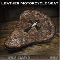 バイク サドルシート ソロシート シングル 本革 カービング サドルレザー Cross Carved Leather Single/Solo Saddle Seat Motorcycle  Harley-Davidson Stingray WILD HEARTS Leather&Silver (ID bc3572)