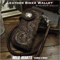 カービング 革財布 ロングウォレット ライダーズウォレット サドルレザー/牛革 Hand Carved Genuine Leather Motorcycle/Biker Wallet Floral/Western Scroll carved by hand  WILD HEARTS Leather&Silver (ID lw1614)