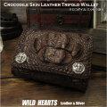 財布 クロコダイル 三つ折り財布 ワニ革 ショートウォレット ミドルウォレット ダークブラウン 100% Genuine Crocodile Skin Leather Trifold Biker Wallet Dark Brown WILD HEARTS Leather&Silver (ID lw4078)