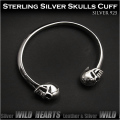 バングル ブレスレット カフ シルバー925 スカル/ドクロ メンズアクセサリー  Skull Sterling Silver 925  Cuff bracelet Bangle WILD HEARTS (ID sb3405r79)