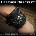 クリックポストのみ送料無料!レザー ブレスレット リストバンド 牛革 パイソン コンチョ Leather Biker Wrist Band Bracelet Concho WILD HEARTS Leather&Silver (ID lb1194r1)