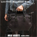 メンズ 革 ビジネスバッグ  クロコダイル型押しレザー 牛革 ブリーフケース Men's Best Quality genuine Crocodile Embossed Leather Business Bag Briefcase Handbag Work Bag WILD HEARTS Leather&Silver (ID bb3520b32)