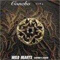 クリックポストのみ送料無料!コンチョ 真鍮 ウエスタン ジルコニア ねじ式 Concho Western Zirconia Brass WILD HEARTS Leather&Silver (ID cc3376)