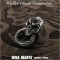 髑髏 スカル ジョイントパーツ ドロップハンドル ジャーマンシルバー/ウォレットチェーンジョイントWallet Chain Connector Jointparts German Silver Door Knocker Joint parts Skull WILD HEARTS Leather&Silver (ID sc3385)