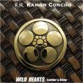 家紋コンチョ 真鍮 家紋 丸に梅鉢  Family Crests of Japan Samurai Family Crests Coat of Arms Brass Concho WILD HEARTS Leather&Silver (ID cc2214)