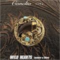 クリックポストのみ送料無料! コンチョ/インディアンジュエリー/真鍮/ターコイズ/熊爪/Native American Style Concho/Brass/Bear claw/Turquoise/WILD HEARTS Leather&Silver (ID cc2257)