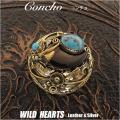 クリックポストのみ送料無料!コンチョ ネイティブ・アメリカンスタイル 真鍮 ターコイズ 熊爪 Native American Style Concho Brass Bear claw Turquoise WILD HEARTS Leather&Silver (ID co2343)