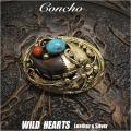 クリックポストのみ送料無料!コンチョ インディアンジュエリー  真鍮 ターコイズ/赤珊瑚  熊爪 Native American Style Concho  Brass  Bear claw Turquoise WILD HEARTS Leather&Silver (ID cc2849)