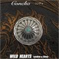 クリックポストのみ送料無料!コンチョ 合金 ウエスタン ターコイズ ねじ式 Concho Western Turquoise Metal WILD HEARTS Leather&Silver (ID cc3364)