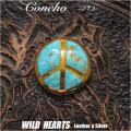 クリックポストのみ送料無料!コンチョ 真鍮 ウエスタン ピースマーク ターコイズ ねじ式 Concho Western Love&Peace Turquoise Brass WILD HEARTS Leather&Silver (ID cc3374)