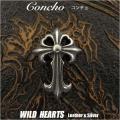 クリックポストのみ送料無料!コンチョ クロスコンチョ 十字架 合金 Concho Cross Metal WILD HEARTS Leather&Silver (ID cc3657)