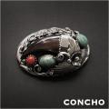 コンチョ インディアンジュエリー シルバー925 ターコイズ/レッドコーラル/熊爪 Native American Style Concho Sterling Silver Bear claw Turquoise Red Coral  WILD HEARTS Leather&Silver (ID cc3410)