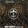 クリックポストのみ送料無料!コンチョ ドラゴン/龍 真鍮 レッドジルコニア Concho Dragon-motif Brass Red Zirconia WILD HEARTS Leather&Silver(ID con3789)