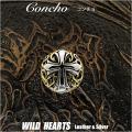 クリックポストのみ送料無料!コンチョ シルバー925 真鍮 クロス アラベスク 飾りボタン Concho Cross Arabesque-design Brass/Sterling Silver 925 WILD HEARTS Leather&Silver (ID cc3790)
