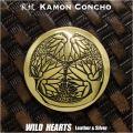 家紋コンチョ 真鍮 戦国武将 徳川家康 徳川家 家紋 葵の御紋 Samurai Family Japanese Crest Brass Concho WILD HEARTS Leather&Silver (ID cc3899)