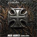コンチョ  合金  アイアンクロス 十字架  Concho Iron Cross WILD HEARTS Leather&Silver (ID co3914)