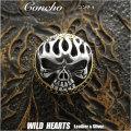 コンチョ シルバー925 真鍮 スカル&ファイアー ドクロ Concho Skull&Fire  Sterling Silver 925&Brass WILD HEARTS Leather&Silver(ID cc3924)