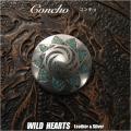 クリックポストのみ送料無料!コンチョ 合金 インディアンジュエリー ターコイズ インレイ Concho Turquoise Western concho Metal WILD HEARTS Leather&Silver (ID con1654)