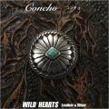 クリックポストのみ送料無料!コンチョ 合金 ターコイズ インディアンジュエリー Concho Turquoise Western concho Metal WILD HEARTS Leather&Silver (ID 0481t34)