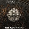 クリックポストのみ送料無料!コンチョ シルバー925  クロス クロスフローリー オクタゴンコンチョ  Concho Cross fleury Cross flory Octagon Silver 925 WILD HEARTS Leather&Silver (ID c002t2)