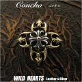 クリックポストのみ送料無料!コンチョ シルバー925  クロス 十字 クロスフローリー Concho Cross floly Sterling Silver 925 WILD HEARTS Leather&Silver (ID c005t2)