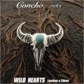 クリックポストのみ送料無料!コンチョ シルバー925 バッファロースカル&ロングホーン カウスカル ターコイズ Concho Buffalo Skull & Longhorn Turquise Silver925 WILD HEARTS Leather&Silver (ID con7t2)