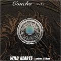 クリックポストのみ送料無料!コンチョ 太陽モチーフ ネイティブアメリカンスタイル ターコイズ Concho The Sun Native American Style Turquoise Silver 925 WILD HEARTS Leather&Silver(ID con9t2)