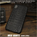 クリックポストで送料無料! iPhone XS Max  ケース ワニ革/クロコダイル/カイマン 本革 ハードケース スマホケース ブラック/黒 Genuine Crocodile Skin Leather Hard Case Cover Black For iPhone XS Max WILD HEARTS Leather&Silver (ID xsmax_r34)